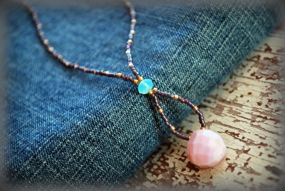 Pink Peruvian Opal Necklace. Eye Candy Collection. Beaded Jewelry. Bohemian Fashion. Aqua Purple Pink. Everyday Simple. Boho Chic. Summer