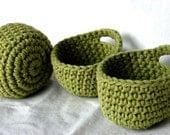 3 Mini Baskets in green cotton fiber
