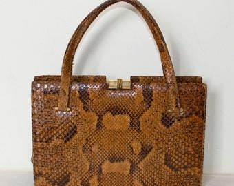 1960s Snakeskin Bag Exotic Leather Handbag Vintage Brown Leather Bag Box Purse Medium Evening Bag Unique Vintage Bag