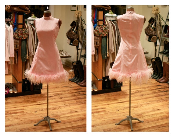 1960s A-Line Mod Mini Dress Pink with Feather Trim