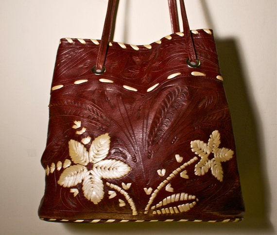 RESERVED - 1970s 1980s Soft Deep Brown Leather with White Leather Woven Flowers Tooled Handbag