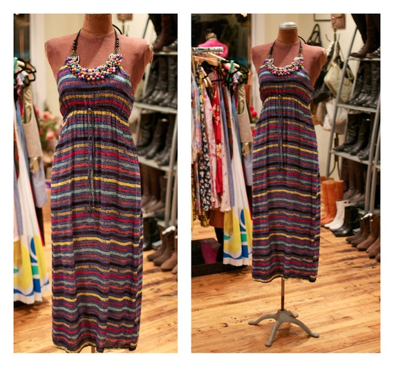 SALE - 1990s Striped Halter Maxi Festival Dress with Beaded Bib Front Detail