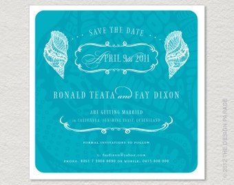 PRINTABLE Sea Shells Beach Themed Save the Date or invitation. Retro, vintage inspired.