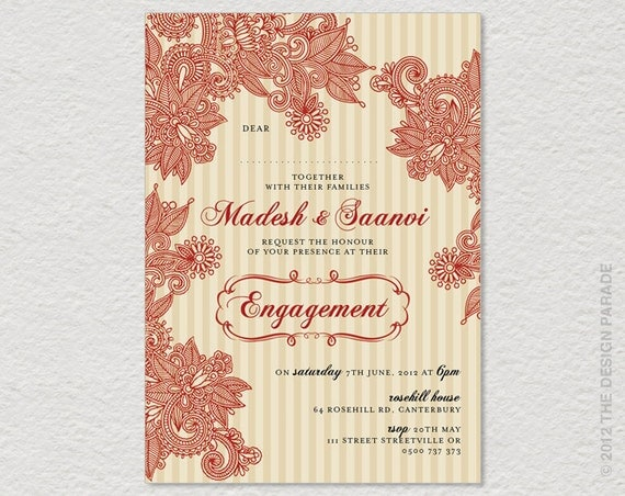 PRINTABLE Henna design, Indian Style invitation for Engagement, Wedding or birthday. Henna invitation, Indian invitation.