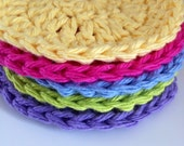 Facial scrubbies, 5 RAINBOW colored, reusable cotton washcloths , pretty cleaning supplies for housewarming or showers