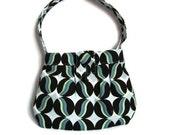 Black and Green Shoulder Bag, Upcycled Purse, Polkadot Purse, Shoulder Bag, Shoulder Length Purse, One of A Kind