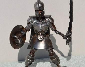 Hand Made SPARTAN Warrior 7 Inches  Recycled Scrap Metal