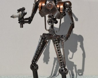 Hand Made BATTLE DROID 12 Inches Recycled Scrap Metal