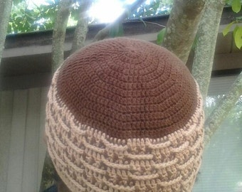 Weavers dream. This looks woven not crocheted. Crocheted in 100% cotton crochet thread size 3, in brown and camel.