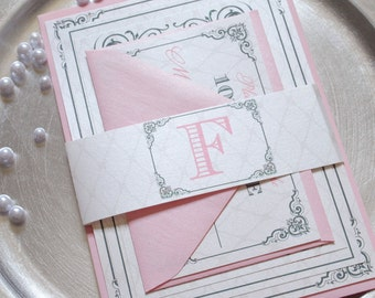 Blush Wedding Invitations - Pink Invitation, Silver Wedding Invitations, Pink Wedding Invites - Wedding Invitation