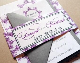 Purple Wedding Invitations, Purple and Grey Wedding Invitations, Wedding Invitation, Grey and Purple, Purple Invitation, Purple Invitations