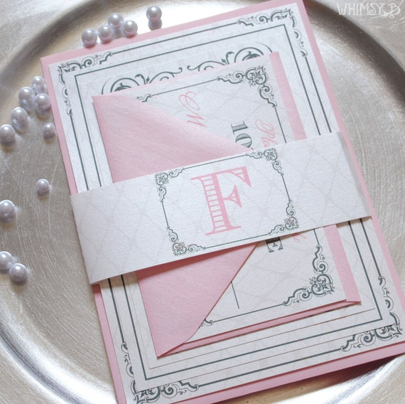 Pink Wedding Invitations, Wedding Suite with Belly Band, Pink and Gray Wedding Invitation