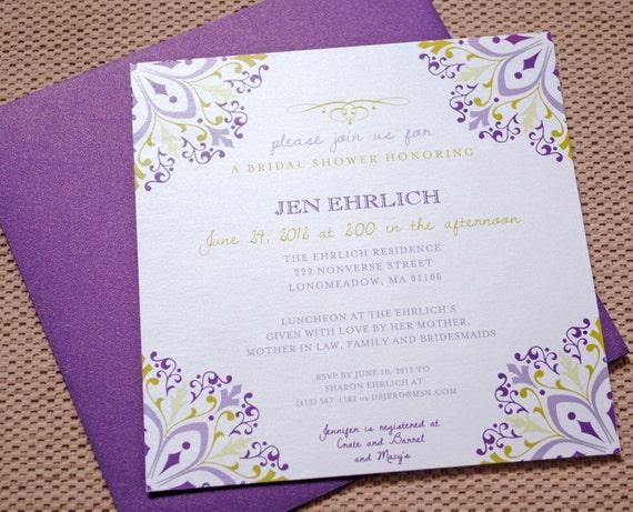 Purple Bridal Shower Invitations, Purple Bridal Shower, Purple Wedding Invitations