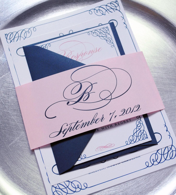 Navy Wedding Invitation: Wedding Invitation Template Navy And Pink Wedding
