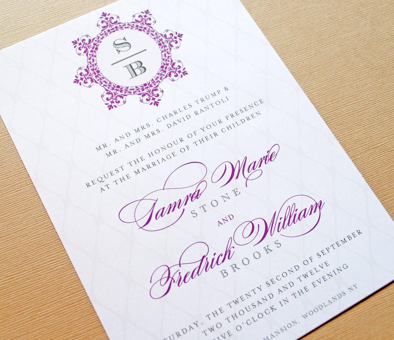 Wedding Invitations Elegant: Purple Wedding Invitation Elegant Wedding Invitations In