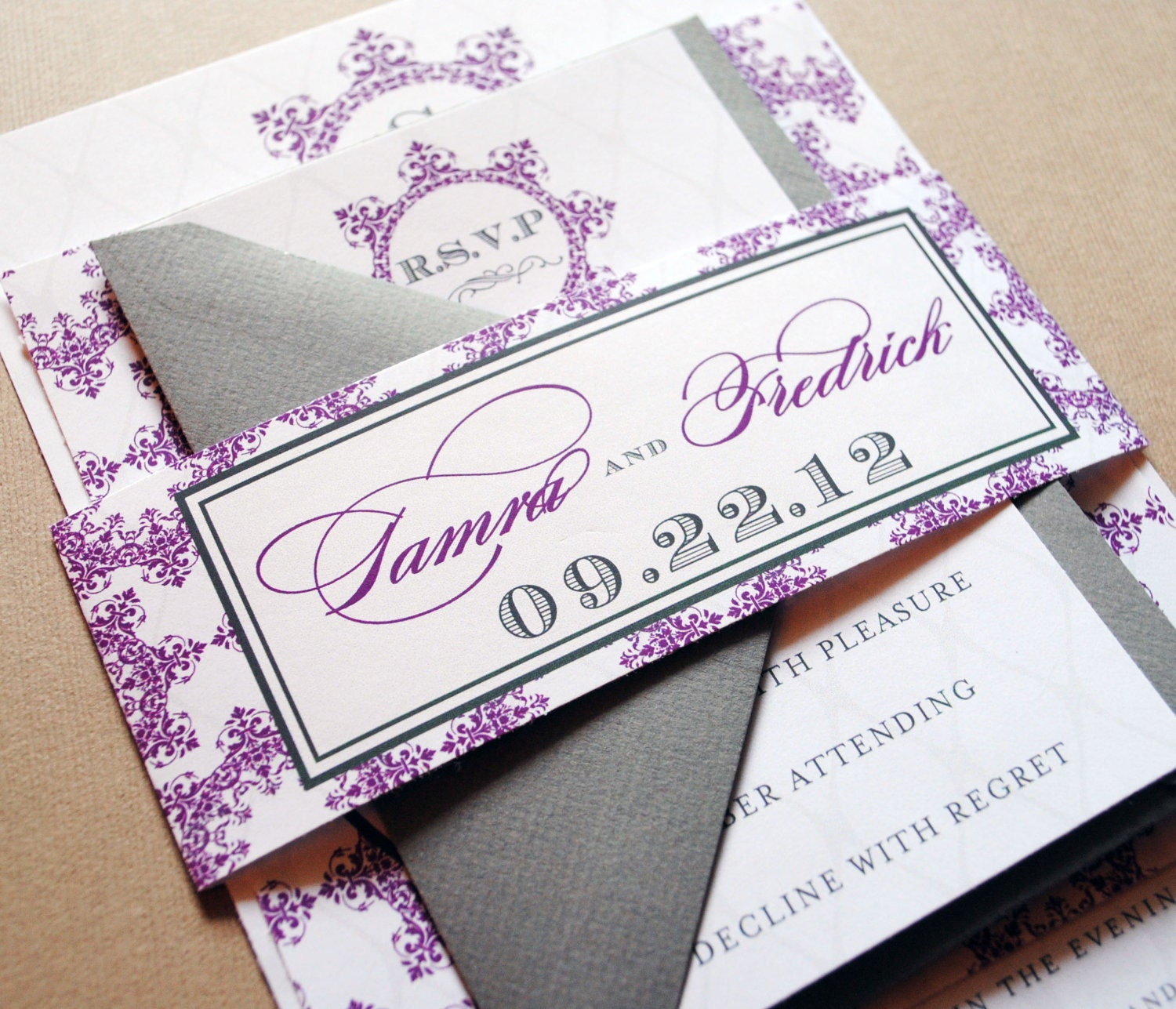 Purple Wedding Invitations Purple And Grey By WhimsyBDesigns