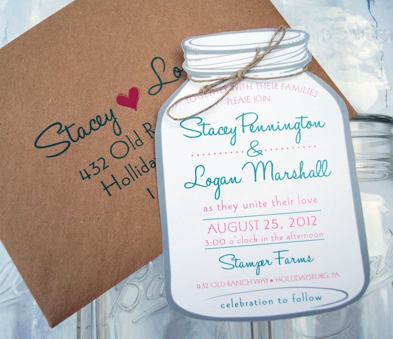 Wedding Invitations Mason Jar