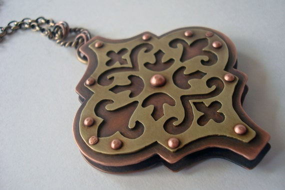 RESERVED - 20% Sale - Tile In Translation - Pierced and Riveted Brass and Copper Pendant