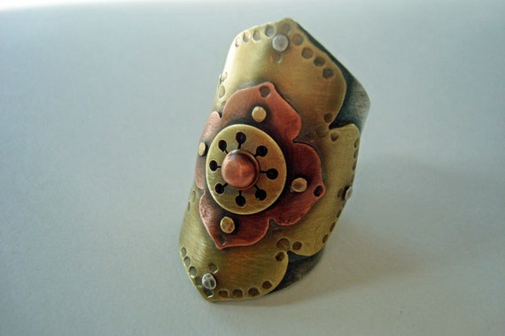 Flower Saddle - Riveted Sterling Silver, Brass, and Copper Ring