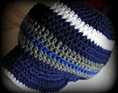 Royal Blue Stripes Crochet Tam