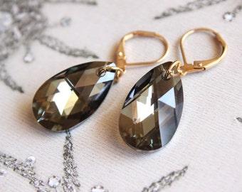 Swarovski Crystal Faceted Teardrop Dangle Earrings