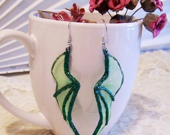 Dragon Wing Earrings: Dangling Green Earrings - U1001