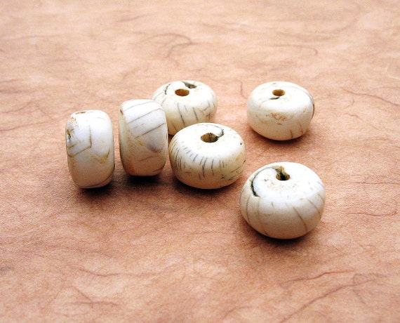 Vintage Naga Conch Shell Beads -  Fat Rondelles - Wheels, Nepal, Lot of 6
