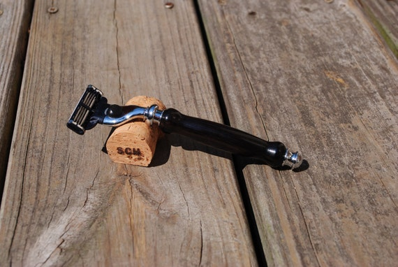 Gillette Mach 3 Razor Handle, African Blackwood and Chrome