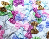 42 Glitter Bows  Assorted Colors, Size 35mm x 20mm