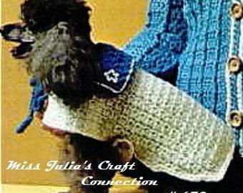 Almost FREE  Vintage Cozy Pet Dog Sailor Coat 670 PDF Digital Crochet Pattern