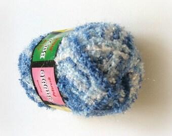 Blue Yarn - Shiny Blue and White Knitting Yarn - Ready to Ship