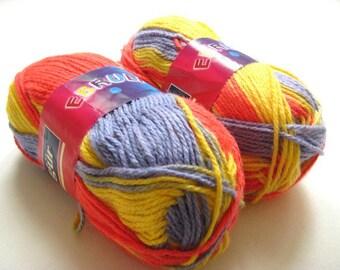 Red, Yellow, Purple Batik Yarn - 2 SKEINS - Acrylic Knitting or Crochet Yarn - Ready to Ship