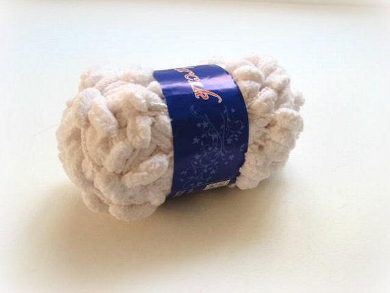 White Pompom Yarn - White Yarn for Knitting or Crochet - Ready to Ship - Gift for Mom