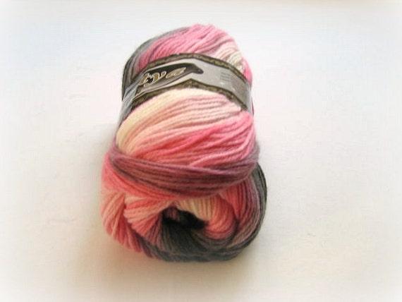 Pink, Gray, White Batik Yarn - Pink Acrylic Knitting or Crochet Yarn - Ready to Ship