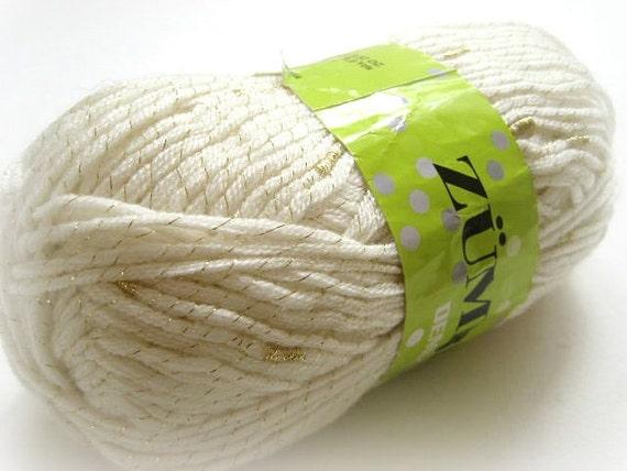 Shiny Cream Yarn - TWO SKEINS Metallic Cream Knitting or Crochet Yarn - Ready to Ship
