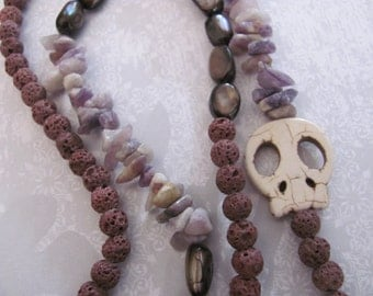 20% OFF, Skull Necklace, Purple Beaded Necklace, Purple & Cream Asymmetrical Beaded Skull Necklace