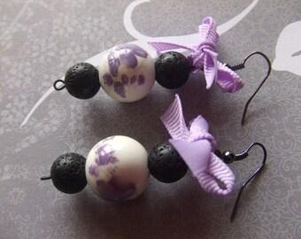 Bow Earrings, Purple Bow Earrings, Ceramic Flower Earrings, Purple and Black Bow Earrings, Purple Earrings, Beaded Earrings