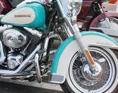 Turquoise Teal  Harley Davidson Motorcycle Closeup Fine Art Photograph