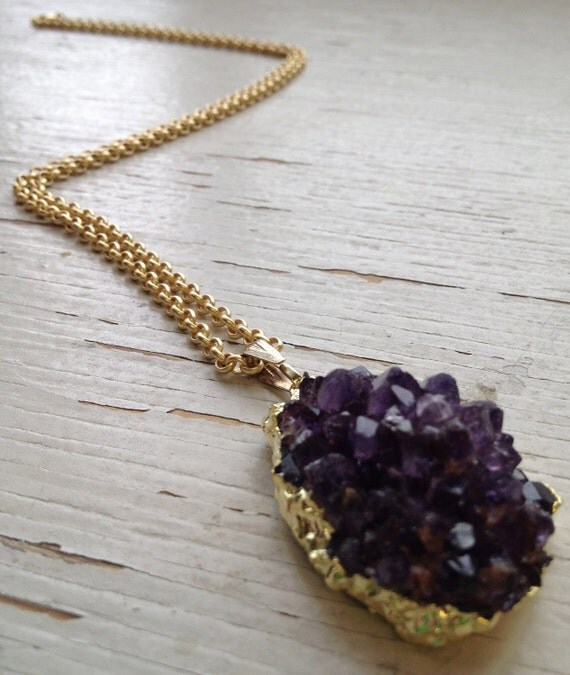 Gold Dipped Amethyst Druzy Pendant on Antiqued Gold Plated Chain