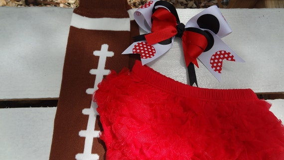 Baby Football Accessories- Matching Ruffle Bottom Bloomers, Leg Warmers, and Bow