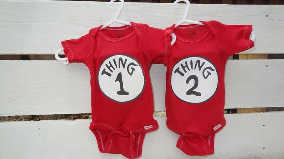 RED Thing 1 and Thing 2 Longsleeve Onesies
