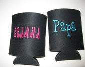 Custom embroidered koozie for the family - set of 2