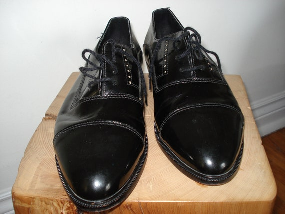 80s Men's Florsheim Black Patent Leather Oxford laced Shoes Size 10 Made in Italy