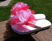 Special Listing for Kelli (belandnic) Girls size 10 White Flip Flop with Red and White Tulle