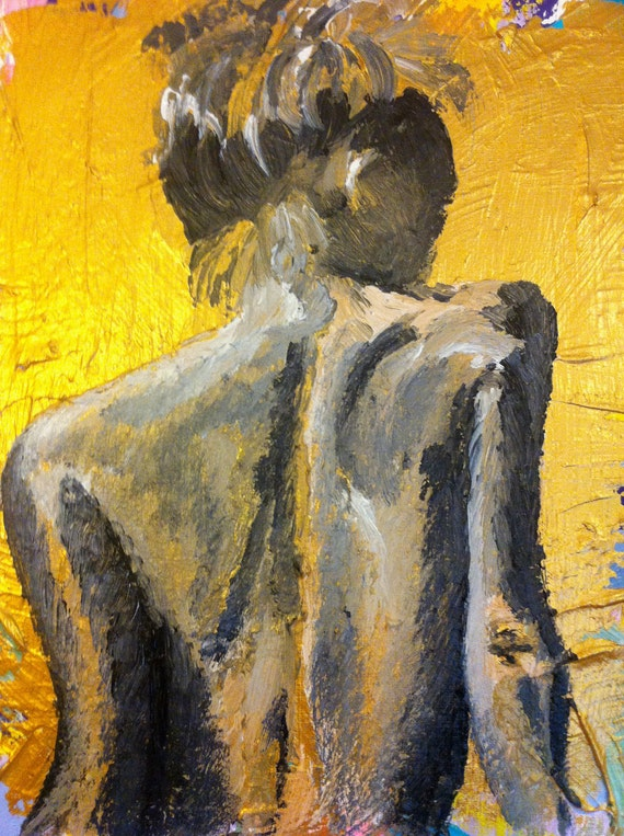 Gold and Multi Colored Painting of Woman's back by ...