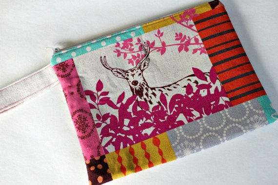 Woodland Deer Nappy Pouch / Diaper Pouch with wristlet