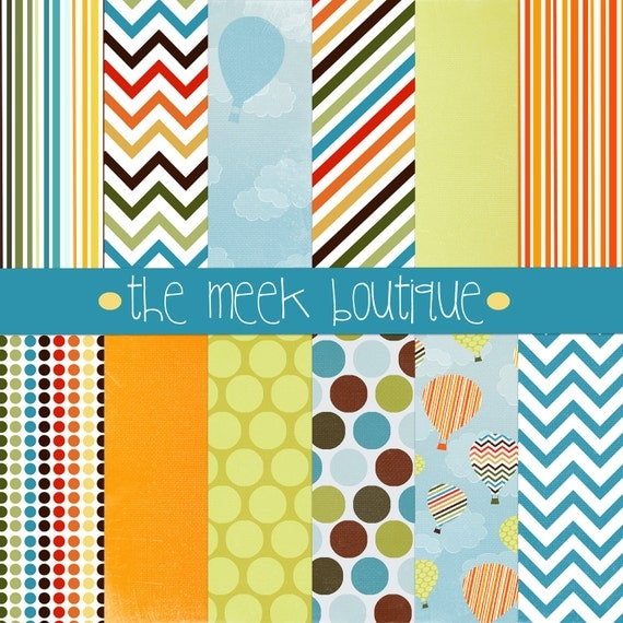 INSTANT DOWNLOAD, Up, Up, and Away Digital Scrapbooking Paper Set, Hot Air Balloons, Chevrons, Stripes, Dots, 12x12