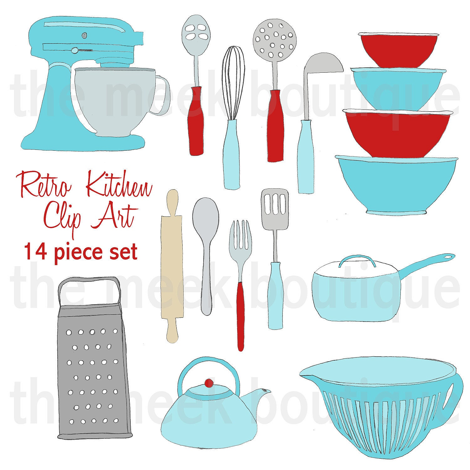 INSTANT DOWNLOAD Retro Kitchen Clip Art Set
