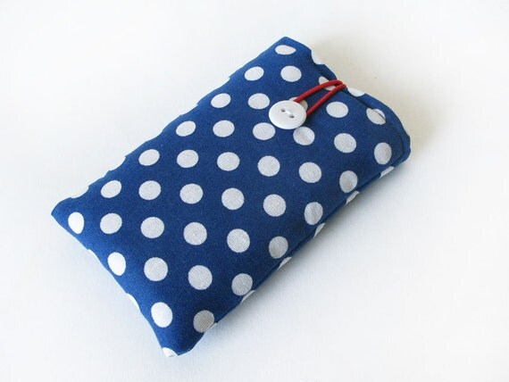 iPhone 4 case bag cover blue white dotted dots fabric polka dots handmade 4S, 3G, 3GS, 5