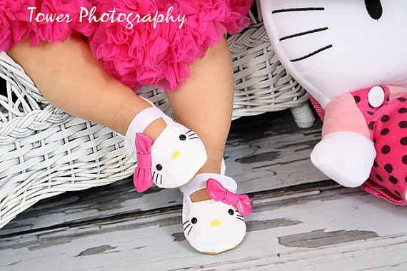 Hello Kitty, Inspired Shoes - Handmade, Soft Sole, Baby Shoes